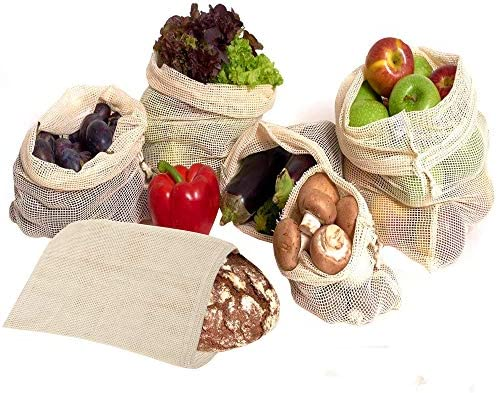 6 Bolsas de Vegetales Reutilizables (SML) - Ecológico y Biodegradable| Transpirables, Bolsas de Malla de 100% Algodón - Robusto, Lavable y Durable, ...