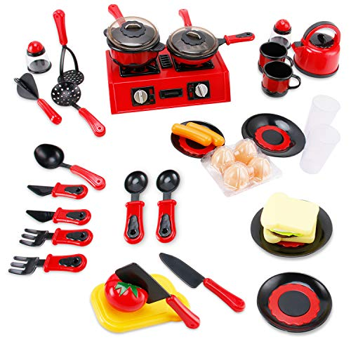Liberty Imports 44 Pieces Mini Breakfast Stove Kitchen Appliance Play Food with Tools and Utensils - Pretend Play Fast Food Cooking Toy Set for Toddlers and Kids
