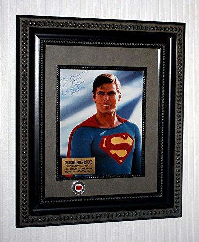 [Superman SIGNED Christopher Reeve, FRAME, COA, DVD Blu Set, Piece of CAPE! UACC] (Super Ray Costume)