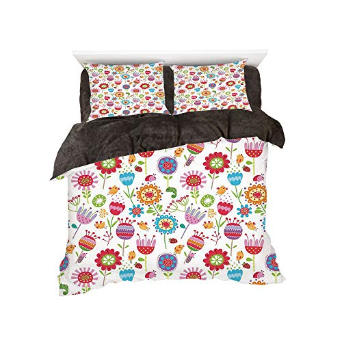 Flannel Duvet Cover Set 4-Piece Suit Warm Bedding Sets Quilt Cover for bed width 5ft Pattern by,Kids,Playful Garden Colorful Meadow with Blossoming Flowers Strawberries Birds Animals Decorative,Multic -