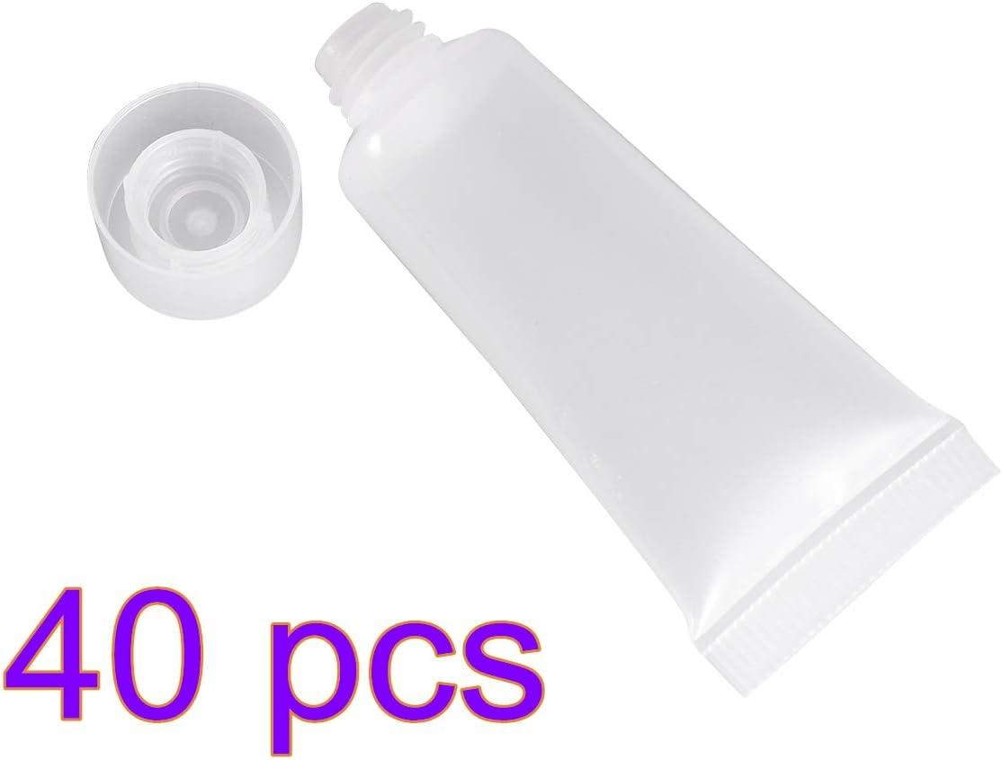 Lurrose - 40 botellas vacías rellenables de plástico para champú, champú y limpieza facial, botellas de muestra de maquillaje con tapa abatible, botellas de viaje desechables de 10 ml