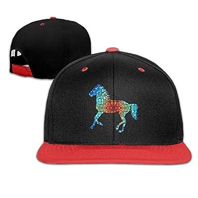 Rock Punk Trucker Hats Sparkle Watercolor Horse Unisex Baseball Caps Hip-hop Snapback Red