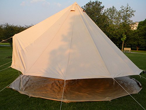 Qexan 4X4M Bell Tent for 8 persons with Zipped in Groundsheet (Beige color)