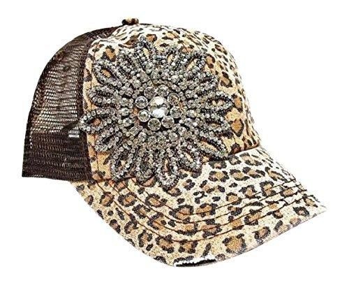 (Womens Olive & Pique Large Rhinestone Flower Cheetah Print Trucker Cap (Brown))