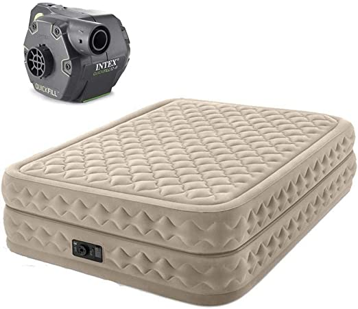Intex Queen Ultra Plush Airbed Air Mattress Bed w// Built In Pump /& Cordless Pump