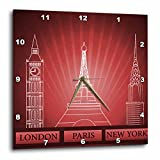 Cheap 3dRose dpp_101397_2 London, Paris and New York Historical Structures in Deep Red-Wall Clock, 13 by 13-Inch