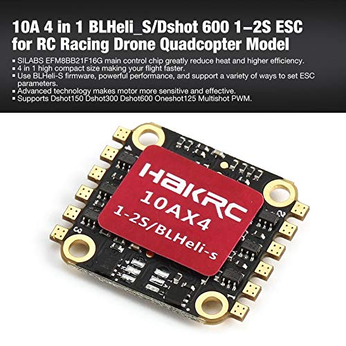 Wikiwand 10A 4 in 1 BLHeli_S/Dshot 600 1-2S ESC for RC Racing Drone Quadcopter Model by Wikiwand (Image #1)