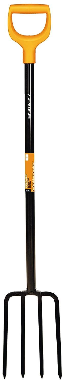 1003458 Schwarz//Orange L/änge 122 cm steinige B/öden Mit 4 Zinken Fiskars Spatengabel f/ür harte Hochwertige Stahl-Zinken//Kunststoff-Stiel Solid