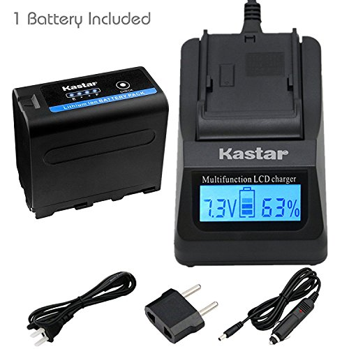Kastar LCD Fast Charger + Battery for Sony NP-F970 Pro NP-F975 NP-F970 NP-F960 NP-F950 NP-F930 NP-F770 NP-F750 NP-F730 NP-F570 NP-F550 NP-F530 NP-F330 Battery, Sony Camcorder and LED Video Light by Kastar
