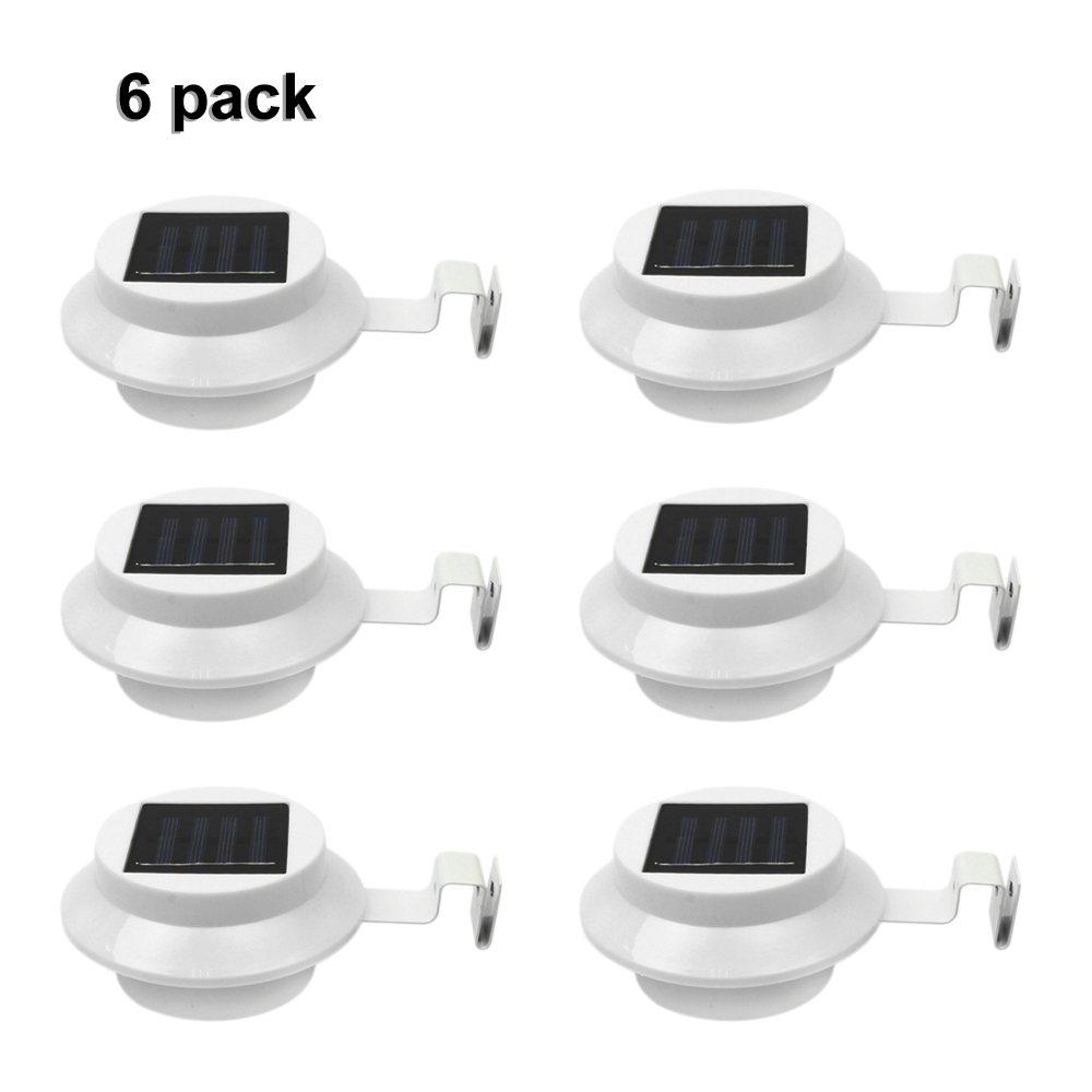 6Pack Outdoor Solar Gutter LED Lights - White Sun Power Smart Solar Gutter Night Utility Security Light by Miyole