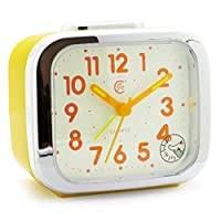 JCC Two Alarm Sound LED Night Light Quartz Analog Non Ticking Sweep Second Hand Bedside Alarm Clock (Yellow)