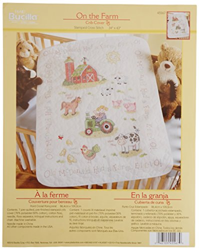 Bucilla Stamped Cross Stitch Crib Cover Kit, 34 by 43-Inch, 45567 On The Farm ()