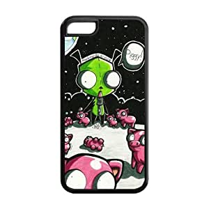 Rata Cute Cartoon Alien Invader Zim Gir Hard Rubber Gel Silicon Snap On Cover Case for iPhone 5C -CRY173