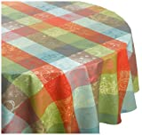 Garnier Thiebaut Mille Couleurs 100% two-ply twisted cotton Coated 69-inch Round Tablecloth, Paris, Made in France