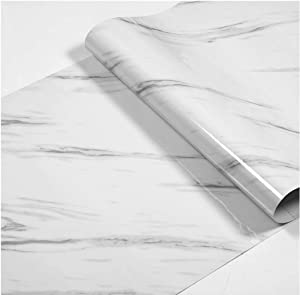 15.8'' x 197'' Marble Contact Paper Granite Gray/White Roll Self Adhesive Peel & Stick Wallpaper for Kitchen Countertop Cabinet Furniture Waterproof PVC Removable