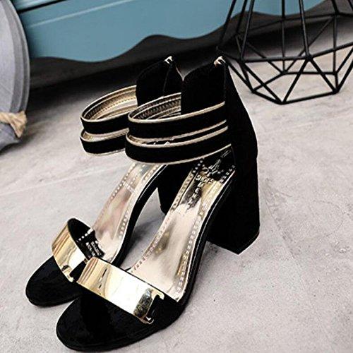 Black Abierta Zapatos Hebilla dedo del Negro PU del Verano de Rojo GAOLIXIA Vestido Primavera Club pie de Casual Tacón para Zapatos mujer Sandalias cuña Gris S7wdf4x