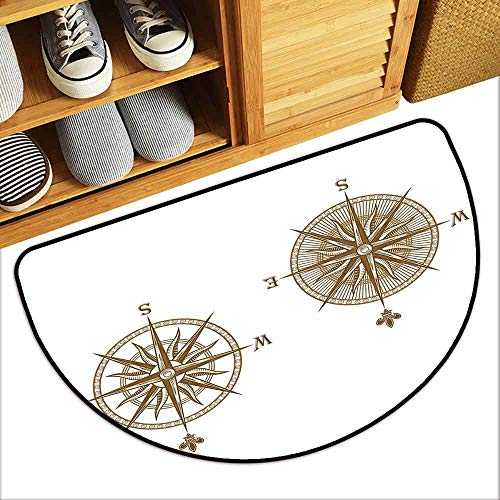 YOFUHOME Compass Bathroom Suction Door mat Ancient Shipping Windrose Design Travel Jouney Theme Sea Life Marine Discovery Art Mildew Proof W35 x L23 Light Brown