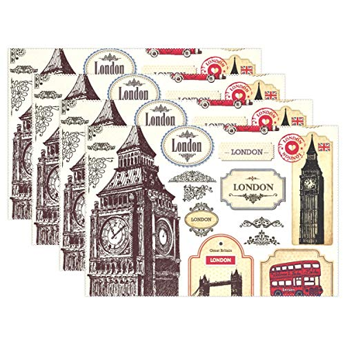 Jereee England London Symbols Set of 6 Placemats Heat-Resistant Table Mat Washable Stain Resistant Anti-Skid Polyester Place Mats for Kitchen Dining Decoration ()