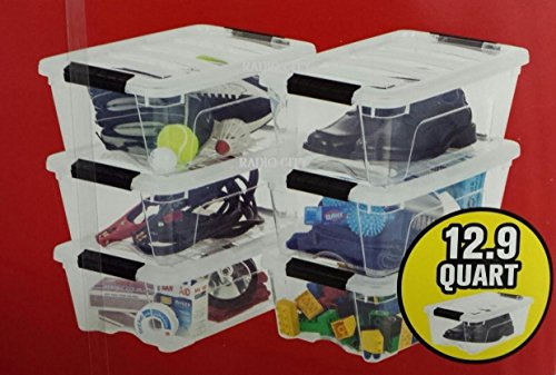 IRIS Storage Containers Clear Plastic Box Lidded Stackable 12.9 Quart (6-Pack)