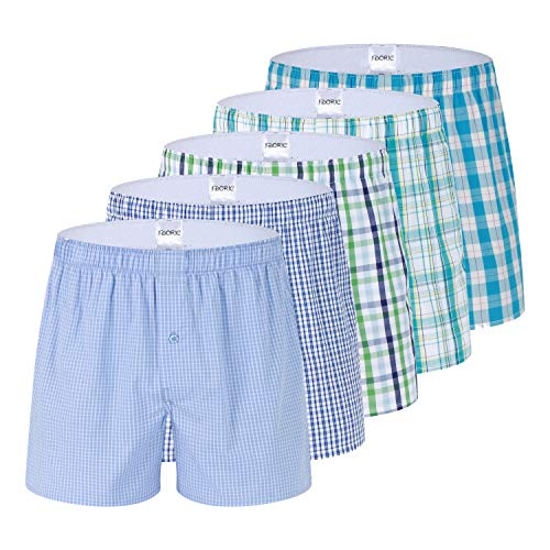 Men's Plaid Woven Boxer Underwear 5/3 Pack 100% Cotton Premium Classic Tartan Shorts