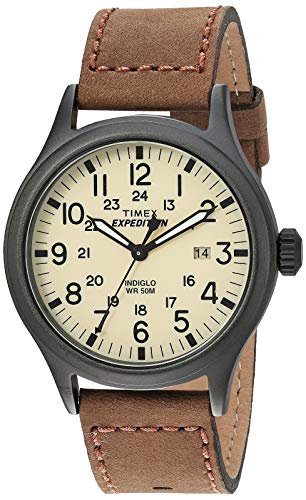 Timex Men's T49963 Expedition Scout Brown Leather Strap Watch - Leather Wrist Brass Watch