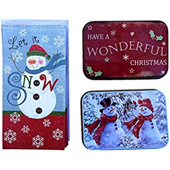christmas money and gift card tin case holders let it snow