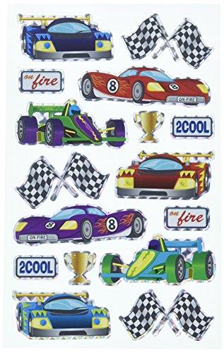 Darice Stickerz, 16 Piece, Race Car Themed Holographic Stickers
