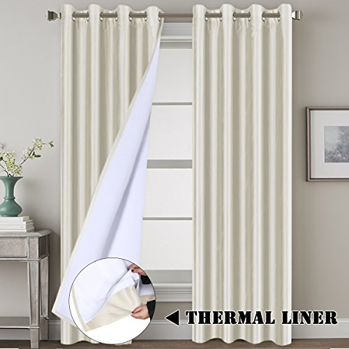 Blackout (2 Layers) Curtains Elegant Extra Long Lined Faux Silk Curtains with Natural Liner Panels Drapes, Thermal Insulated Window Treatment Grommet 2 Panels, Large Size 108 Inch - Ivory