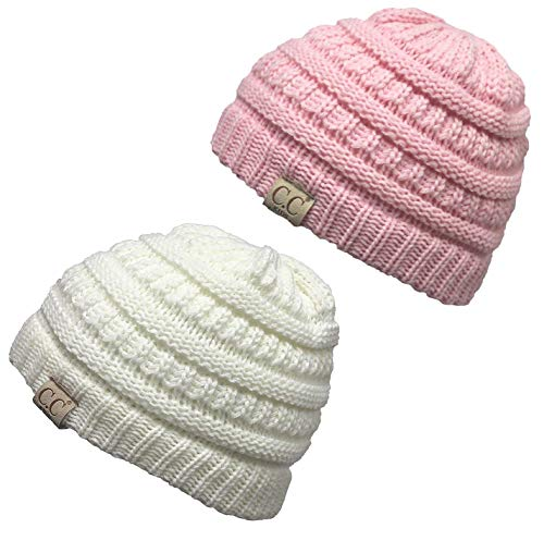 H-3847-2-2529 Kids Beanie (NO POM) Bundle - 1 Ivory, 1 Pale Pink (2 -