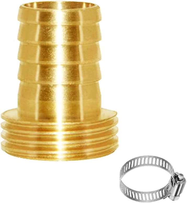 """Joywayus 3/4"""" Barb x 3/4"""" Male GHT Thread Swivel Round Brass Garden Water Hose Pipe Connector Copper Fitting with Stainless Clamp House/Boat/Lawn/Power Wash/Irrigation"""