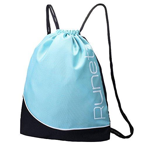 Runetz - TEAL BLUE Gym Sack Bag Drawstring Backpack Sport Bag for Men & Women Sackpack - Teal Blue