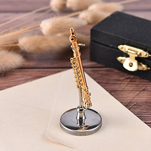 Dengguoli 2.3 inch Mini Copper Flute Dollhouse Miniature Musical Instrument Model Decor with Stand Support and Case
