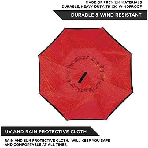 Geometric ユニセックス二重層防水ストレート傘車逆折りたたみ傘C形ハンドル付き