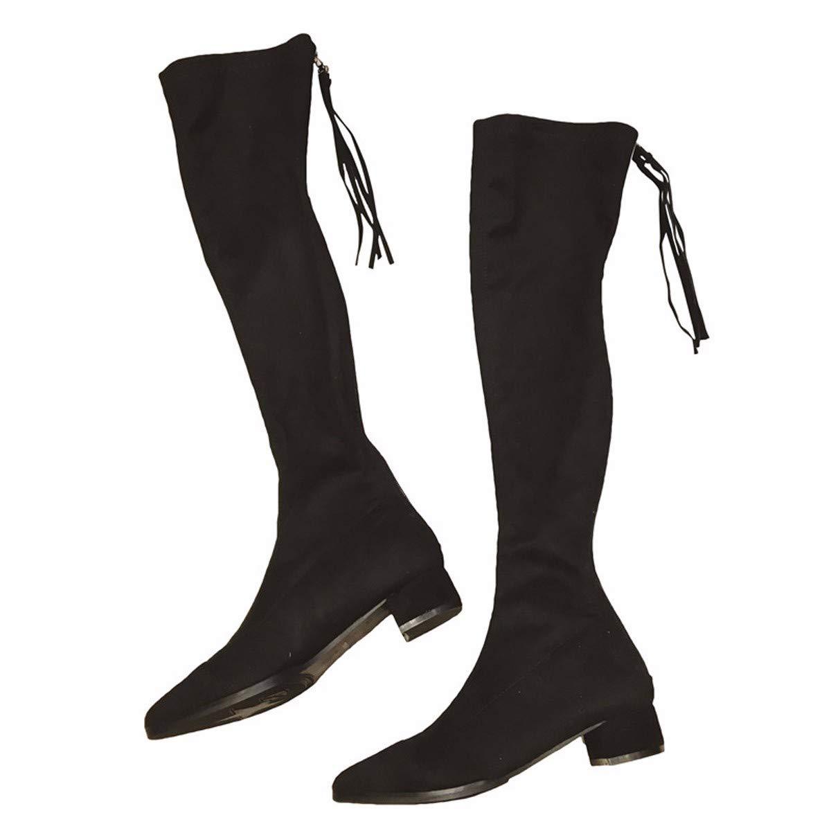 LBTSQ Fashion Damenschuhe Schlank Schwarz Absatz 3 cm Hoch Knie Hohe Stiefel Wildleder Reißverschluss Sagte Ferse Mitte Samt Ritter - Stiefel