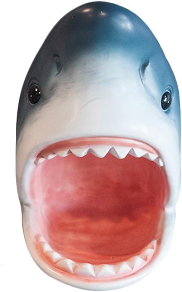 Cabeza del tiburón de montaje en pared estatua del busto Monedero de pared creativo clave de almacenamiento Decoración Resina Sala ilustraciones Apoyos de la pared fuera de la Florida