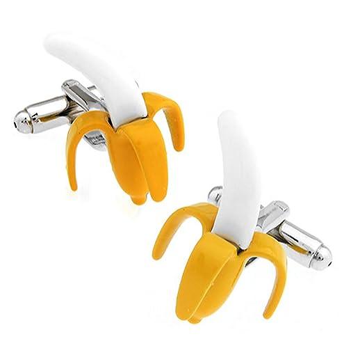 Plátano con mancuernas de regalo caja de la mancuerna de la marca estrella de gemelos: Amazon.es: Joyería