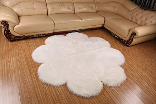 Meng Ge Faux Sheepskin Round Area Rug Silky Shag Rug Fluffy Carpet Rugs Floor Area Rugs Decorative for Living Room Girls Bedrooms