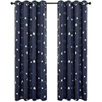 BUZIO 2 Panels Star Print Blackout Curtains with 2...