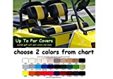 Club Car Pre-2000 DS Custom Golf Cart Front Seat Cover Set PLUS Rear Seat Cover Set Combo - TWO STRIPE STAPLE ON