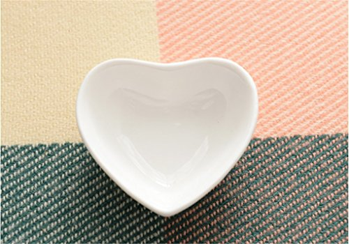 Elufly White Porcelain Mini Heart Dish 3'' Set of 2-8 (2)