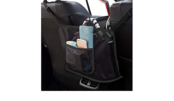 Black A Car Net Pocket Handbag Holder,Car Seat Storage Net Bag,Net Mesh Organizer Storage Pouch Pocket for Handbag Bag Documents Phone Valuable Items,Driver Storage Netting Pouch with Bag on Back
