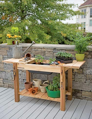 Strange Amazon Com Gardeners Cedar Potting Bench With Sink Garden Download Free Architecture Designs Xaembritishbridgeorg