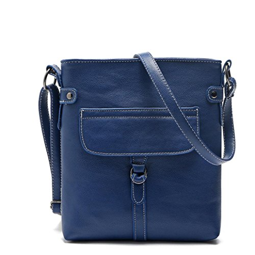 Shoulder Cross Blue Ladies Bag Handbag Familizo Messenger Leather Body Satchel Handbag vYpaIwqW