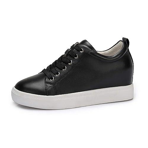Zapatos de mujer Otoño Cuero Cómodo Talón Plano Zapatos de Aumento de Altura Zapatos Blancos Mujer Negro Blanco: Amazon.es: Zapatos y complementos
