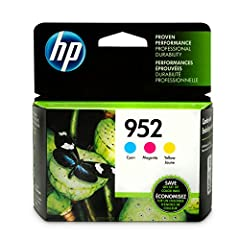 HP 952 Cyan, Magenta & Yellow Ink Cartridges, 3 Cartridges (L0S49AN, L0S52AN, L0S55AN). HP 952 ink cartridges work with: HP OfficeJet Pro 7720, 7730, 7740, 8210, 8216, 8702, 8710, 8715, 8720, 8725, 8730, 8740. Cartridge yield (approx. ) p...