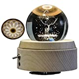 3D Crystal Ball Music Box The Dear Luminous Rotating Musical Box with Projection LED Light and Wood Base Best Gift for Birthday Christmas (A2 Deer)