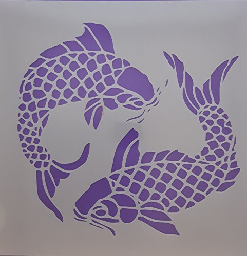 Dazzle Cards Large Koi carp fishes Mylar stencil sheets for greeting card making/wall border 5.7