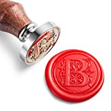 Mceal Wax Seal Stamp, Silver Brass Head with Wooden Handle, Regal Letter B