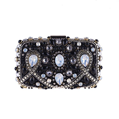 Purse Black Banquet Clutch JESSIEKERVIN Bag Diamond Evening Dress Beaded Pearl ww8FgfA