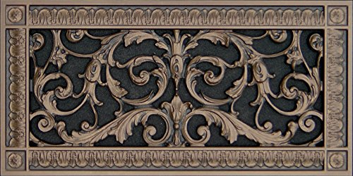 Decorative Vent Cover, Grille, made of Urethane Resin in Louis XIV, French style fits over a 6